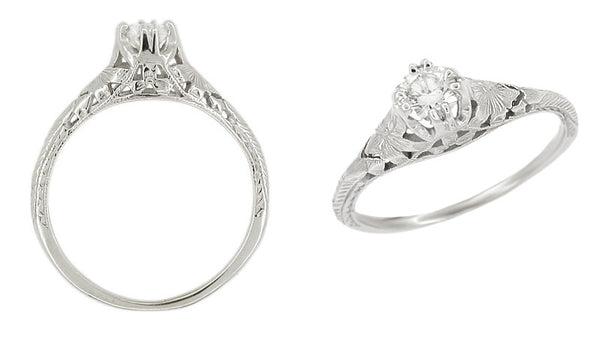 Art Deco Filigree Flowers and Wheat 1/4 Carat Diamond Engraved Engagement Ring in 18 Karat White Gold - Item: R356 - Image: 1