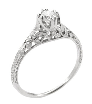 Art Deco Filigree Flowers and Wheat 1/4 Carat Diamond Engraved Engagement Ring in 18 Karat White Gold
