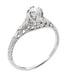 Art Deco Filigree Flowers and Wheat 1/3 Carat Engraved Engagement Ring Setting in Platinum