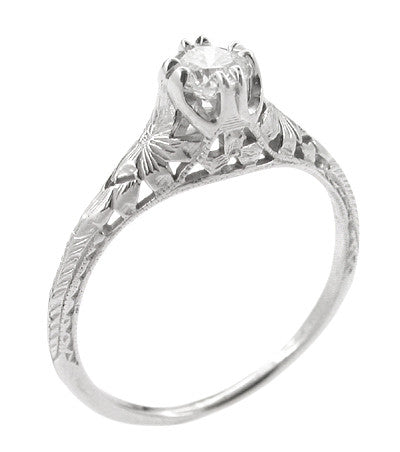 Art Deco Filigree Flowers and Wheat Engraved 1/3 Carat Diamond Engagement Ring in Platinum