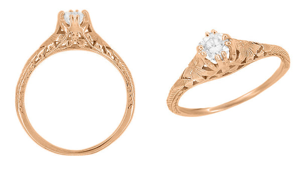 Art Deco Filigree Flowers and Wheat 1/3 Carat Engraved Engagement Ring Setting in 14 Karat Rose Gold - Item: R356R33 - Image: 1