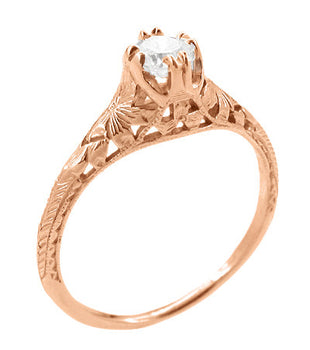Art Deco Filigree Flowers and Wheat 1/3 Carat Engraved Engagement Ring Setting in 14 Karat Rose Gold