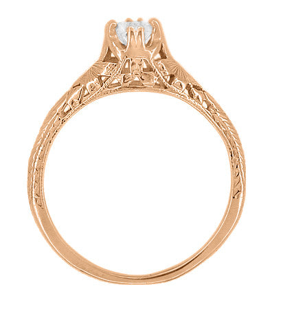 Art Deco Filigree Flowers and Wheat White Sapphire Engraved Engagement Ring in 14 Karat Rose Gold - Item: R356R33WS - Image: 2
