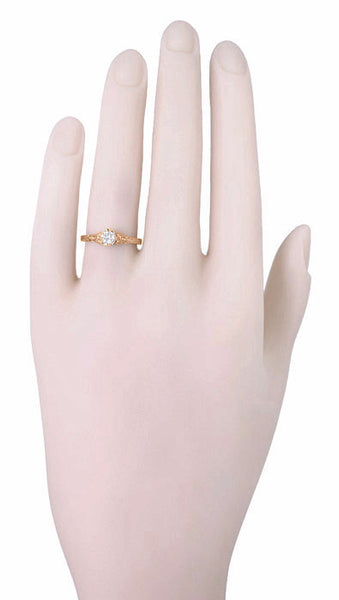 Art Deco Filigree Flowers and Wheat White Sapphire Engraved Engagement Ring in 14 Karat Rose Gold - Item: R356R33WS - Image: 3