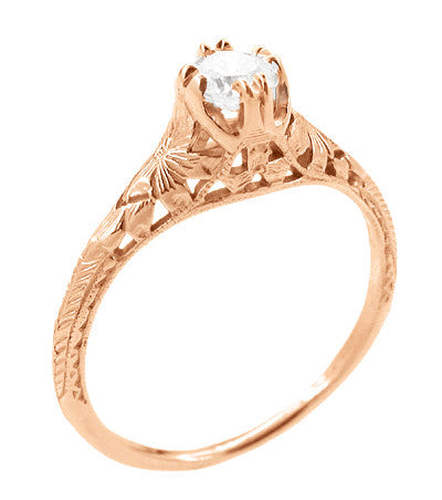 Art Deco Filigree Flowers and Wheat White Sapphire Engraved Engagement Ring in 14 Karat Rose Gold - Item: R356R33WS - Image: 1