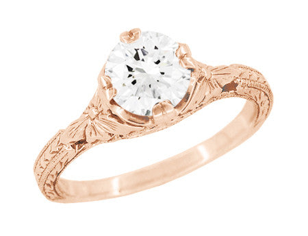 Art Deco 3/4 Carat Vintage Engraved Engagement Ring Mounting with Filigree Flowers for a 6mm Round Stone in 14 Karat Rose Gold - Item: R356R75 - Image: 1