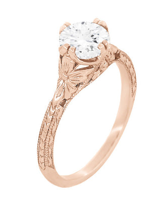 Art Deco 3/4 Carat Vintage Engraved Engagement Ring Mounting with Filigree Flowers for a 6mm Round Stone in 14 Karat Rose Gold
