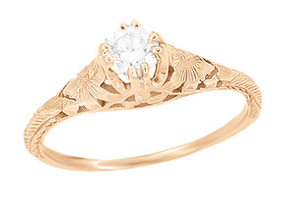 Rose Gold Art Deco Engraved Filigree Flowers and Wheat 1/3 Carat Diamond Engagement Ring - Item: R356RD33 - Image: 1