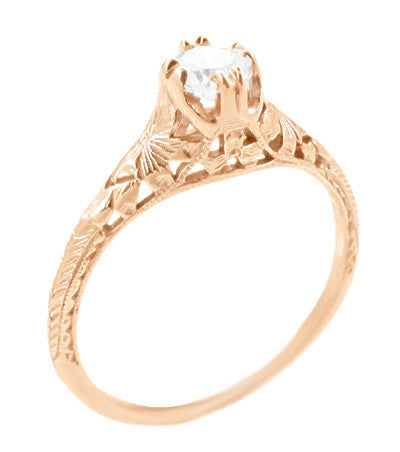 Rose Gold Art Deco Engraved Filigree Flowers and Wheat 1/3 Carat Diamond Engagement Ring