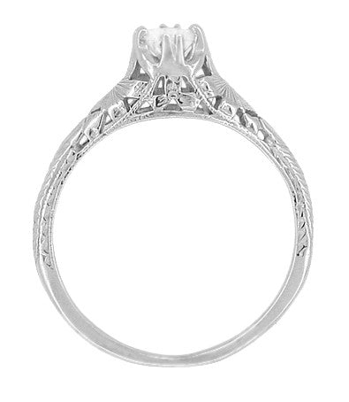 Art Deco Filigree Flowers and Wheat Engraved White Sapphire Engagement Ring in 18 Karat White Gold - Item: R356W33WS - Image: 2