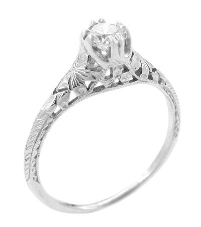 Art Deco Filigree Flowers and Wheat Engraved White Sapphire Engagement Ring in 18 Karat White Gold - Item: R356W33WS - Image: 1