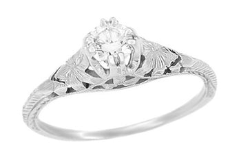 Art Deco Filigree Flowers and Wheat Engraved White Sapphire Engagement Ring in 18 Karat White Gold