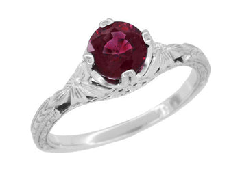 Art Deco Floral Filigree Vintage Engraved 1.25 Carat Rhodolite Garnet Engagement Ring in 14K White Gold