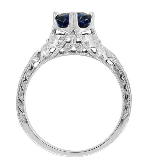 Art Deco Filigree Flowers and Wheat Engraved Sapphire Engagement Ring in 18 Karat White Gold - Item: R356W50S - Image: 2