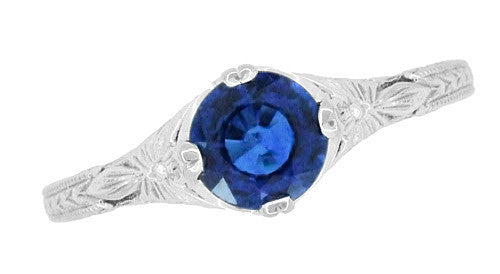 Art Deco Filigree Flowers and Wheat Engraved Sapphire Engagement Ring in 18 Karat White Gold - Item: R356W50S - Image: 3
