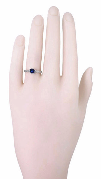 Art Deco Filigree Flowers and Wheat Engraved Sapphire Engagement Ring in 18 Karat White Gold - Item: R356W50S - Image: 4