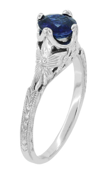 Art Deco Filigree Flowers and Wheat Engraved Sapphire Engagement Ring in 18 Karat White Gold - Item: R356W50S - Image: 1