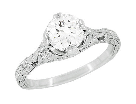Filigree Flowers Hand Carved Antique 3/4 Carat Solitaire Engagement Ring Mounting for a 6mm Round Stone in White Gold - R356W75