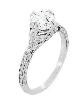Art Deco Flowers 3/4 Carat Filigree Vintage Engagement Ring Setting Design in 14K or 18K White Gold for a 6mm Round Stone