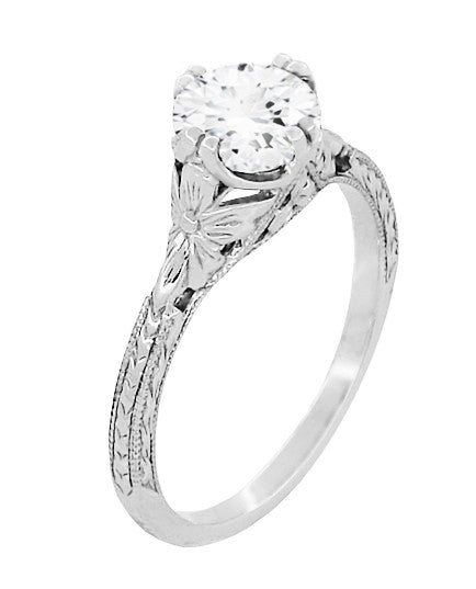 Art Deco Floral Hand Engraved Filigree Vintage Solitaire Engagement Ring Setting for a 6mm 3/4 Carat Round Stone in White Gold - R356W75