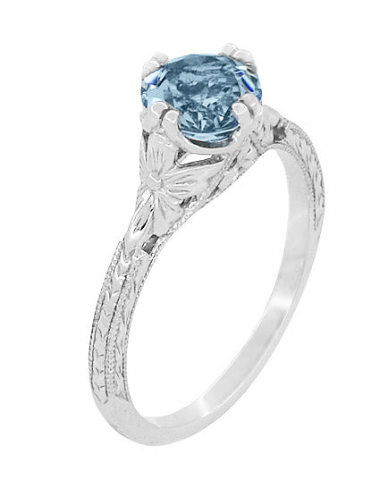 Art Deco Filigree Flowers and Wheat Engraved Aquamarine Engagement Ring in 18 Karat White Gold - Item: R356W75A - Image: 2