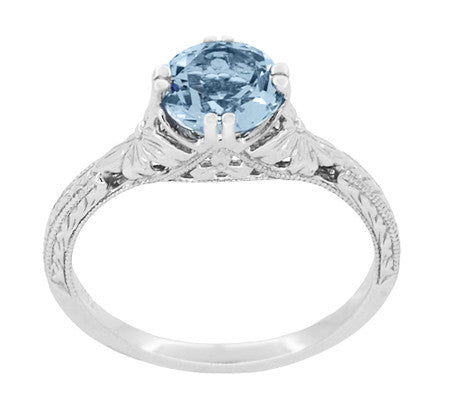 Art Deco Filigree Flowers and Wheat Engraved Aquamarine Engagement Ring in 18 Karat White Gold - Item: R356W75A - Image: 3