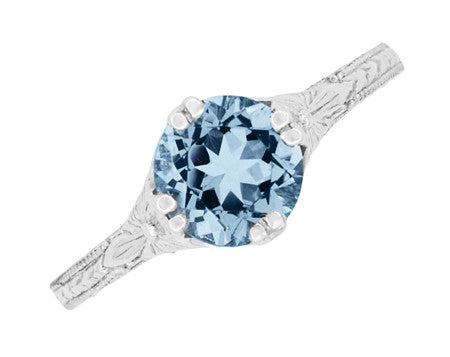 Art Deco Filigree Flowers and Wheat Engraved Aquamarine Engagement Ring in 18 Karat White Gold - Item: R356W75A - Image: 4