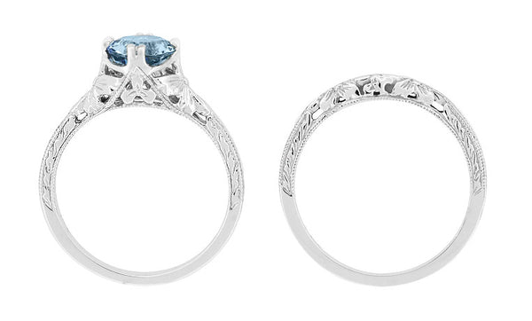 Art Deco Filigree Flowers and Wheat Engraved Aquamarine Engagement Ring in 18 Karat White Gold - Item: R356W75A - Image: 5