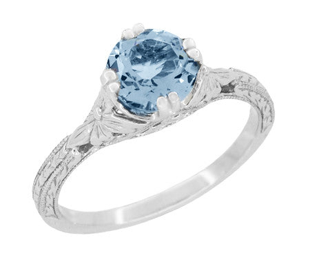 Art Deco Filigree Flowers and Wheat Engraved Aquamarine Engagement Ring in 18 Karat White Gold - Item: R356W75A - Image: 1