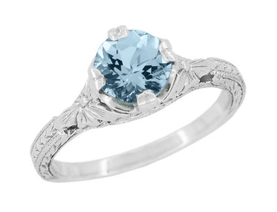 Art Deco Filigree Flowers and Wheat Engraved Aquamarine Engagement Ring in 18 Karat White Gold