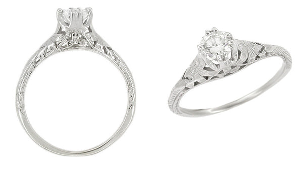 Art Deco Filigree Flowers and Wheat Engraved 1/2 Carat Diamond Engagement Ring in 18 Karat White Gold - Item: R356WD50 - Image: 1
