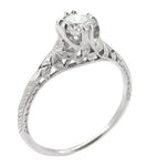 Art Deco Filigree Flowers and Wheat Engraved 1/2 Carat Diamond Engagement Ring in 18 Karat White Gold
