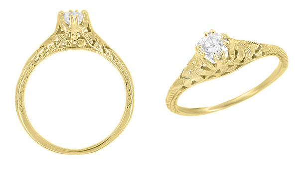Art Deco Filigree Flowers and Wheat 1/3 Carat Engraved Engagement Ring Setting in 18 Karat Yellow Gold - Item: R356Y33 - Image: 1