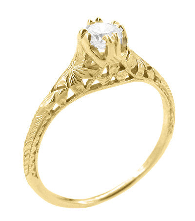 Art Deco Filigree Flowers and Wheat 1/3 Carat Engraved Engagement Ring Setting in 18 Karat Yellow Gold