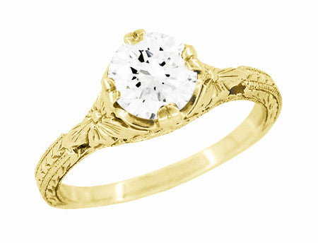 Art Deco 18K Yellow Gold Floral Engraved Filigree 3/4 Carat Vintage Inspired Engagement Ring Mounting for a 6mm Round Stone - Item: R356Y75 - Image: 1