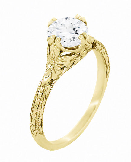 Art Deco 18K Yellow Gold Floral Engraved Filigree 3/4 Carat Vintage Inspired Engagement Ring Mounting for a 6mm Round Stone