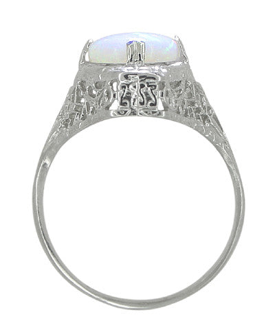 White Opal Filigree Ring in 14 Karat White Gold - Art Deco - Item: R360 - Image: 2