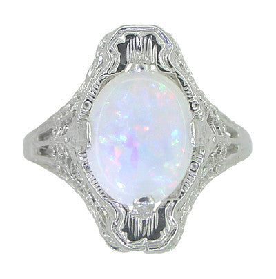 White Opal Filigree Ring in 14 Karat White Gold - Art Deco - Item: R360 - Image: 3