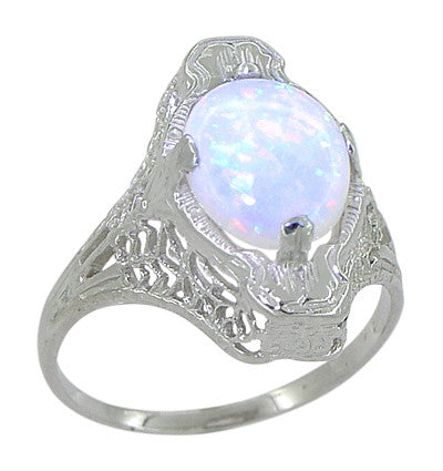White Opal Filigree Ring in 14 Karat White Gold - Art Deco - Item: R360 - Image: 1