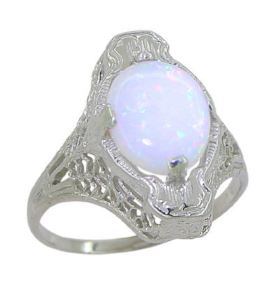 White Opal Filigree Ring in 14 Karat White Gold - Art Deco