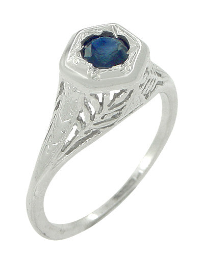 Art Deco Blue Sapphire Filigree Ring in 14 Karat White Gold - Item: R365 - Image: 2