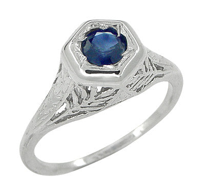 Art Deco Blue Sapphire Filigree Ring in 14 Karat White Gold - Item: R365 - Image: 1
