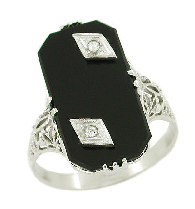 Antique Onyx and Double Diamond Antique Filigree Cocktail Ring in 14 Karat White Gold