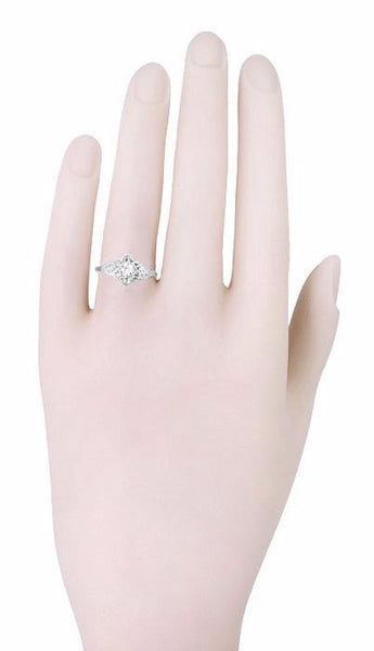 Flowers and Leaves Diamond Engagement Ring in 14 Karat White Gold - Item: R373 - Image: 2