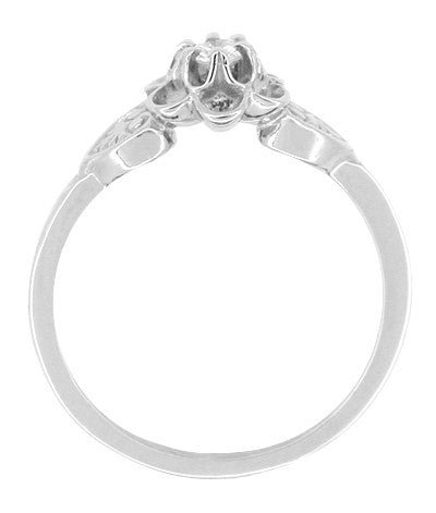 Flowers and Leaves Diamond Engagement Ring in 14 Karat White Gold - Item: R373 - Image: 1