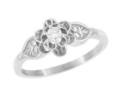 Antique Carved Floral Victorian Diamond Promise Ring in 14 Karat White Gold