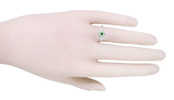 Victorian Flowers & Leaves Emerald Promise Ring in 14 Karat White Gold - Item: R373E - Image: 2