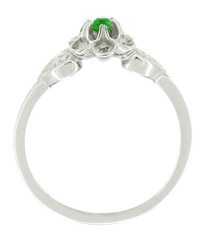 Victorian Flowers & Leaves Emerald Promise Ring in 14 Karat White Gold - Item: R373E - Image: 1