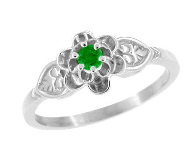 Victorian Flowers & Leaves Emerald Promise Ring in 14 Karat White Gold