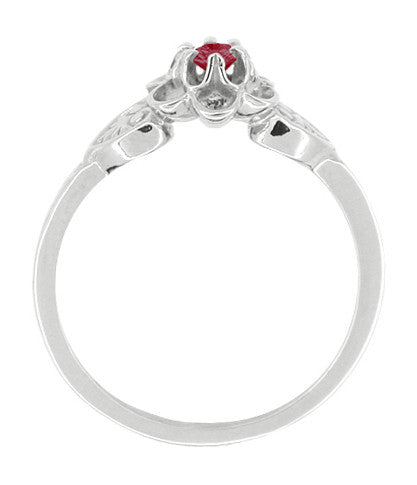 Flowers & Leaves Victorian Ruby Promise Ring in 14 Karat White Gold - Item: R373RU - Image: 1